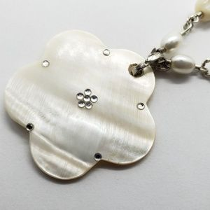 Mother of Pearl Flower Necklace Avon Stamped